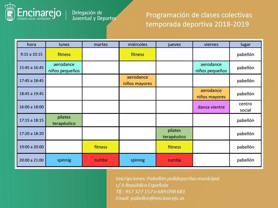 Programación de las clases colectivas 2018-2019