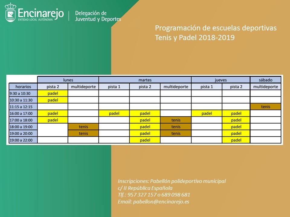 Programación de las escuelas deportivas 2018-2019