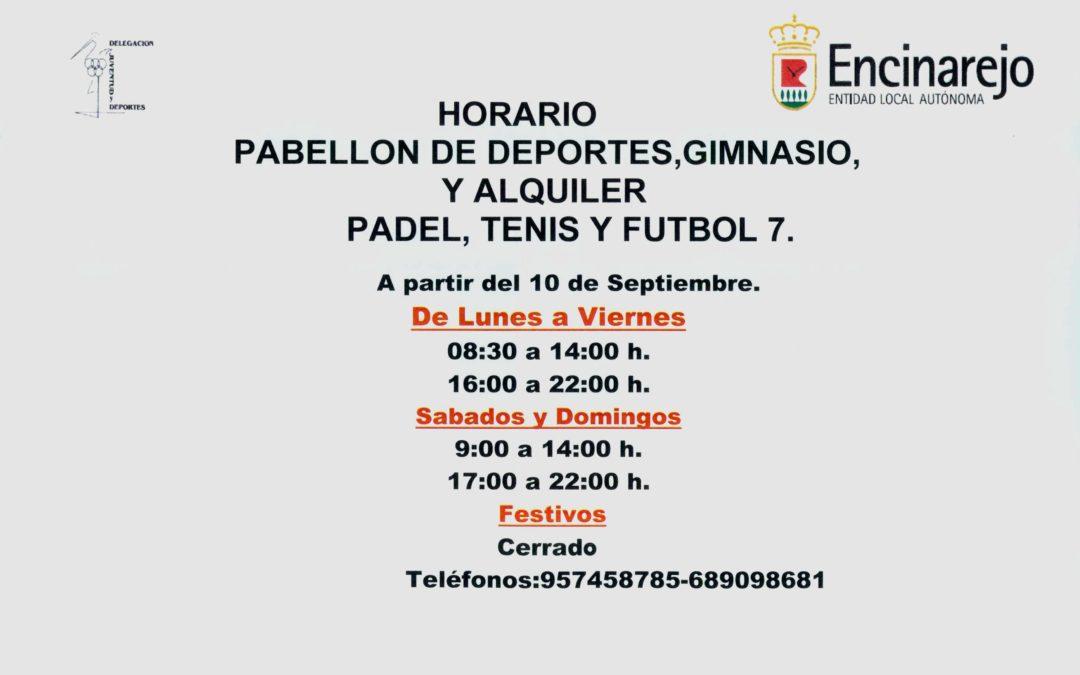 Horario Instalaciones Deportivas Temporada 2019-2020