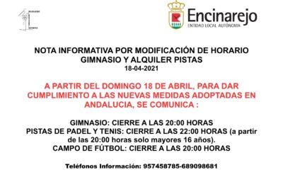 ¡¡ATENCIÓN!! NUEVO CAMBIO HORARIO PABELLÓN Y PISTAS DEPORTIVAS POR COVID-19 A PARTIR DEL 18 ABRIL
